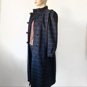 Vintage Plaid Wool Overcoat